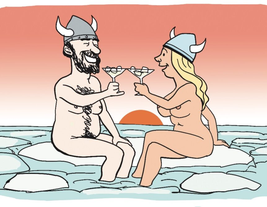Skjoldmø og viking på stævnemøde. Tegning: Jens Hage. Februar '21